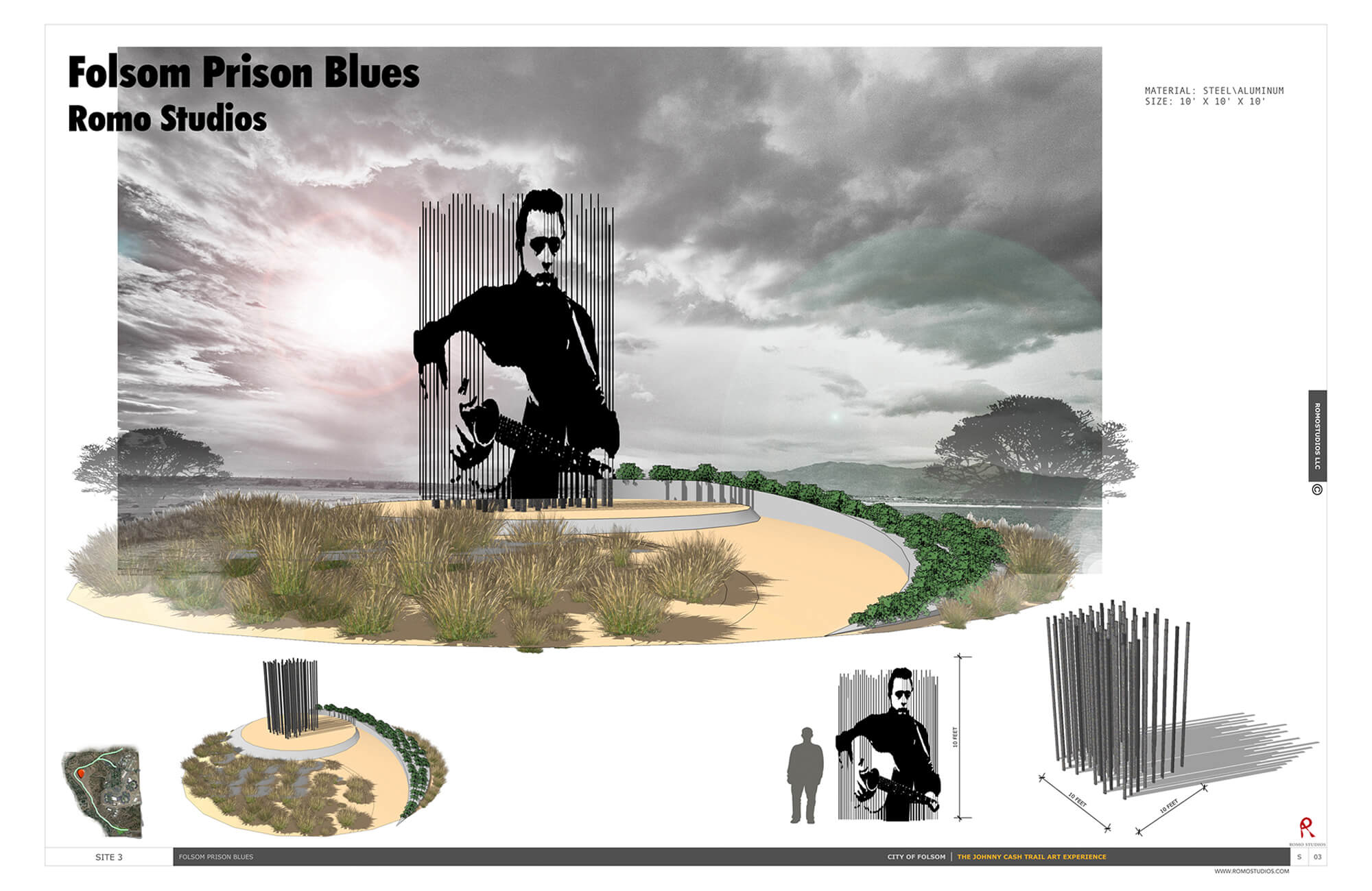 johnny cash trail romo studios. Black Bedroom Furniture Sets. Home Design Ideas